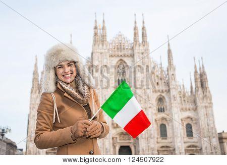 Smiling Woman Traveler With Italian Flag Near Duomo, Milan