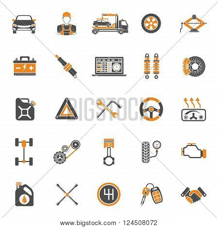Car Service Two Color Icons Set for Poster, Web Site, Advertising like Laptop, Battery, Jack, Mechanic.