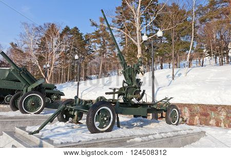YUZHNO-SAKHALINSK RUSSIA - MARCH 17 2016: Soviet 37 mm automatic air defense gun M1939 (61-K) in Glory Square Memorial in Yuzhno-Sakhalinsk Russia. Was used Red Army in WWII