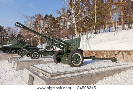YUZHNO-SAKHALINSK RUSSIA - MARCH 17 2016: Soviet 76-mm divisional gun M1942 (ZiS-3) in Glory Square Memorial in Yuzhno-Sakhalinsk Russia. The most used by Red Army cannon of WWII