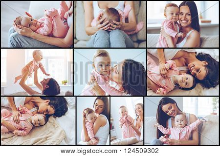 Motherhood is pure joy. Collage of cheerful beautiful young woman holding baby girl in her hands and looking at her with love while sitting on the couch at home