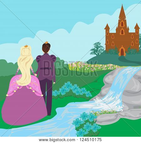castle and princess with prince , vector illustration