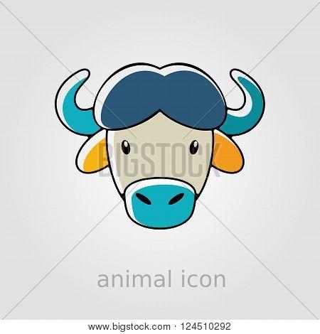 Buffalo bull bison ox flat icon. Animal horned head vector symbol eps 10