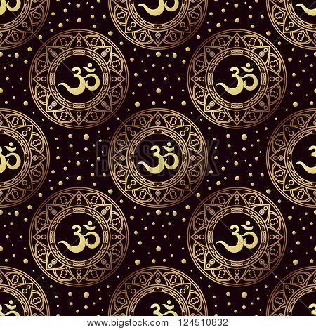 Om symbol seamless pattern. Vintage Gold on a black background. Buddhist Indian motifs yoga meditation spirituality.