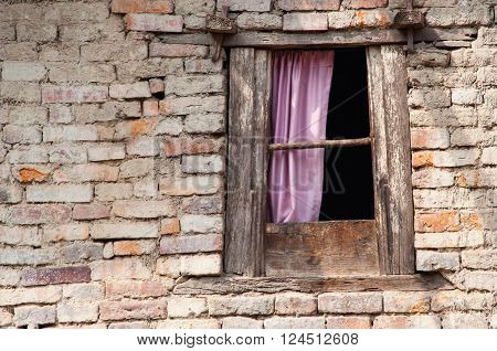 Small window of an ancient building in Kathmandu valley Nepal