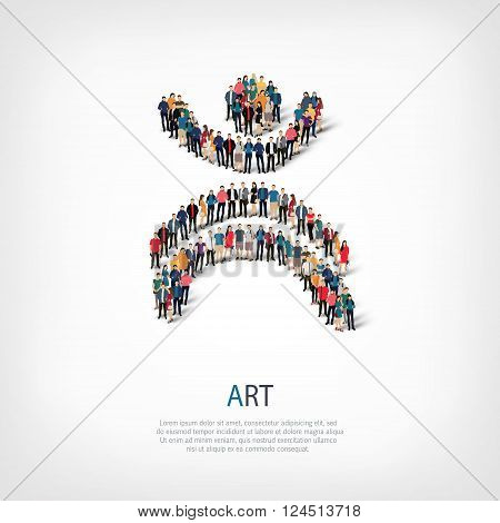 Isometric set of styles, art sign , web infographics concept  illustration of a crowded square, flat 3d. Crowd point group forming a predetermined shape. Creative people. - Vector Illustration. Stock vector.
