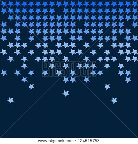 The abstract falling stars. Bue background. Coloful vector illustration.