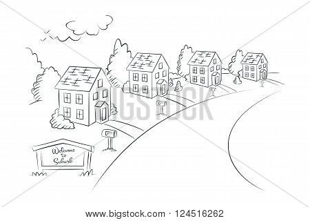 Welcome to Suburb - monochrome linear illustration suburban street with houses vector