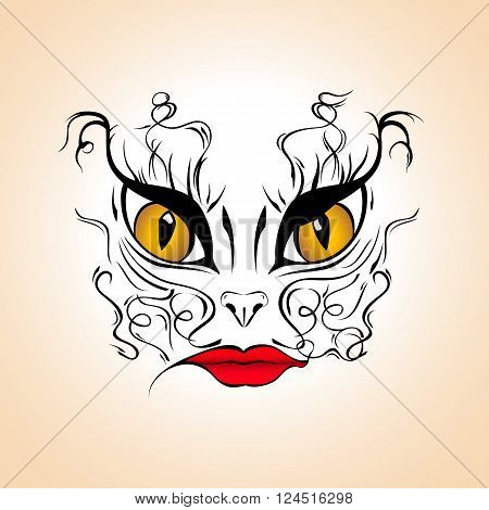 Woman cat - face painting illustration tatoo template vector