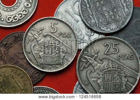 Coins of Spain under Franco. Coat of arms of Spain under Franco depicted in the Spanish five peseta coin (1957).