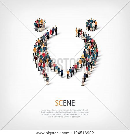 Isometric set of styles, scene , web infographics concept  illustration of a crowded square, flat 3d. Crowd point group forming a predetermined shape. Creative people. - Vector Illustration. Stock vector.