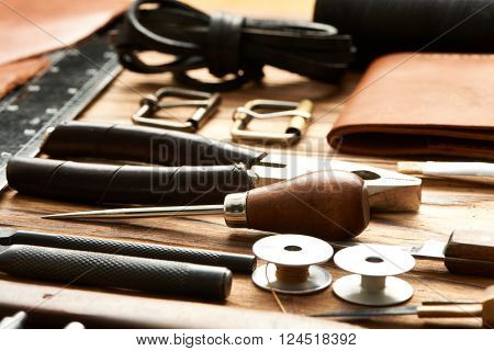 Leather crafting DIY tools still life