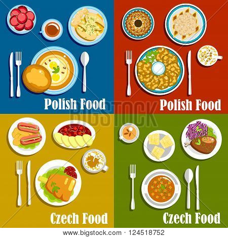 Popular dishes of polish and czech cuisine with thick soups and potato pancakes, baked pork knee, fish and duck, pickled sausages and vegetarian dumplings, gingerbread, donuts and trdelnik cakes