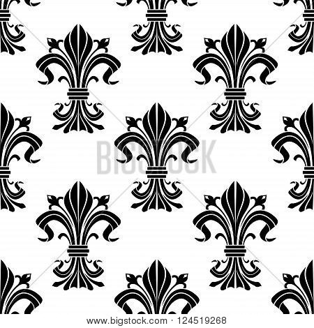 Black and white fleur-de-lis ornament with seamless pattern of elegant iris buds and curved leaves gathered and tied in bunches. For heraldic theme, fabric or interior design
