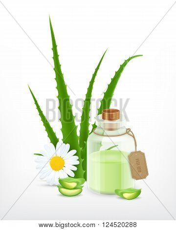 Aloe with essential oil. Health vector icon. EPS10 vector