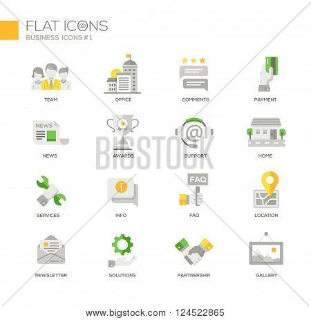 Set of modern vector office and business thin line flat design icons and pictograms. Team, newsletter, setvices, solutions, comments, support, partnership, payment, location, gallery
