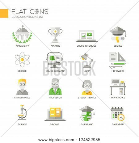 Set of modern vector education thin line flat design icons and pictograms. Collection of education infographics objects and web elements. University, online education, science, e-books,  homework, work place, e-learning, calendar