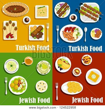 Kosher jewish and authentic turkish cuisine with kebabs and matzo balls with fresh vegetables garnishing, potato pancakes, shawarma and falafel wraps, pilaf and noodle casserole, meat pie, sweet carrot stew and poppy seeds pastries