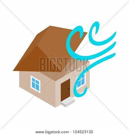 House destroyed by hurricane icon in isometric 3d style on a white background