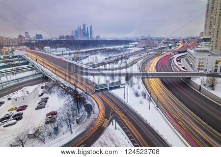Highway junction of third transport ring at dull day in Moscow, long exposure
