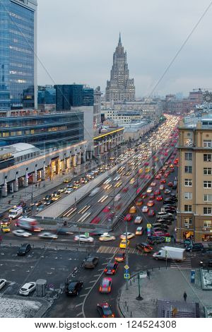 Traffic jam on Garden ring street and Ministry of Foreign Affairs building, Moscow