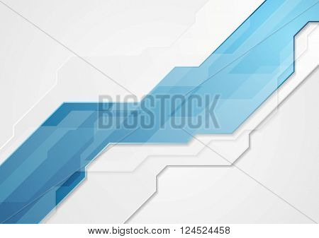 Abstract technology corporate geometric background. Material blue grey vector graphic design. Corporate brochure illustration