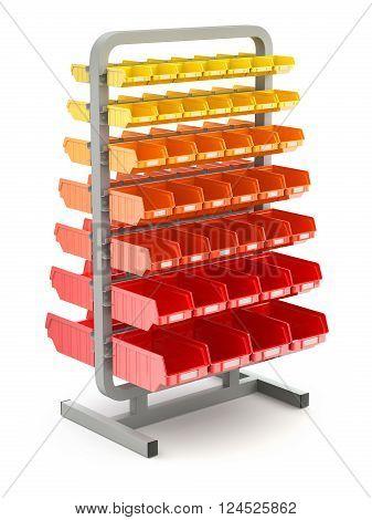 Plastic shelves organizer on white background - 3D illustration