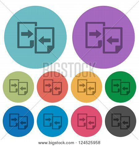 Color share documents flat icon set on round background.