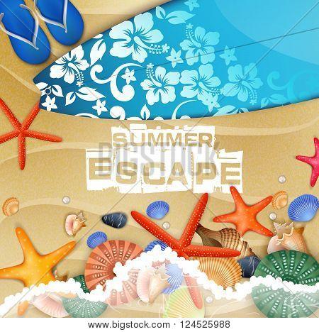 Illustration of Surfboard and Flip-flops on sand background