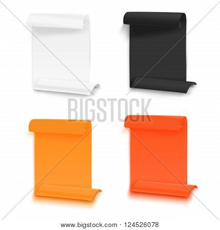 Illustration of Set of Folded Paper Sheets Template. Realistic Vector EPS10 Rolled Page Document Mockup Set Isolated on White Background