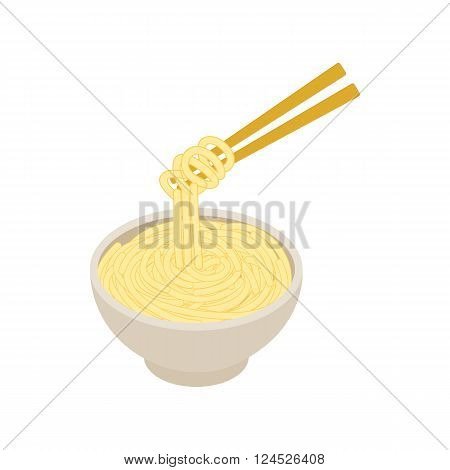 Chinese noodles icon in isometric 3d style isolated on white background. Chinese noodles in a bowl and chopsticks