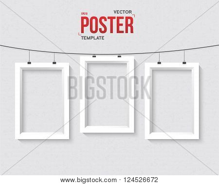 Illustration of Vector Frame Mockup Set. Realistic Vector EPS10 Frame on the Wall Poster Template Set