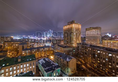 Evening view of residential district with illumiantion in Moscow, Russia