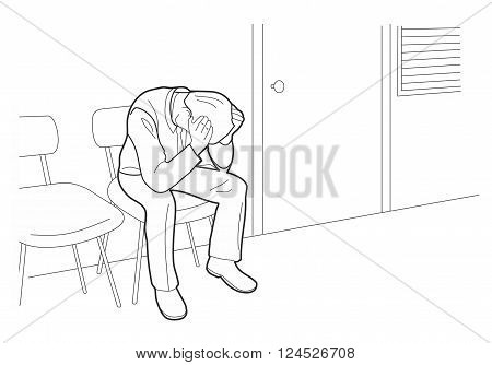 Overworked businessman is under stress with headache. Worried man Black vector illustration isolated on white background.