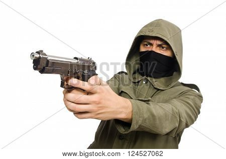 Masked man in criminal concept on white