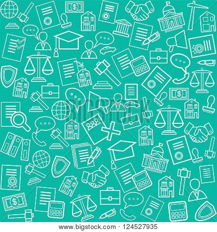 Vector seamless pattern with linear icons of legal services on a green background.