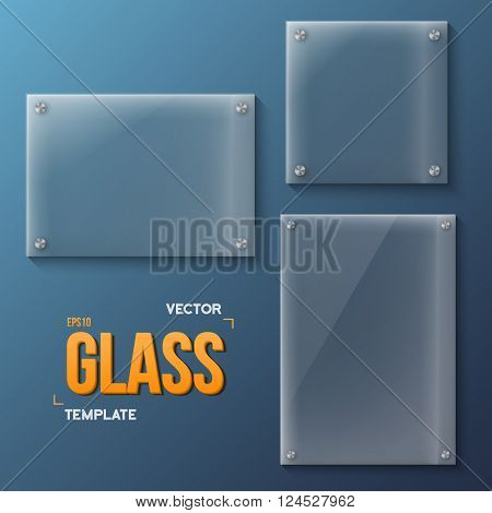 Illustration of Set of Realistic Vector Glass Frame Templates. EPS10 Vector Plastic Plate Set