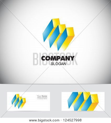 Vector company logo icon element template abstract sign geometric paralelipipedo