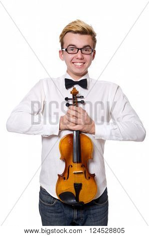Young funny violin player isolated on white