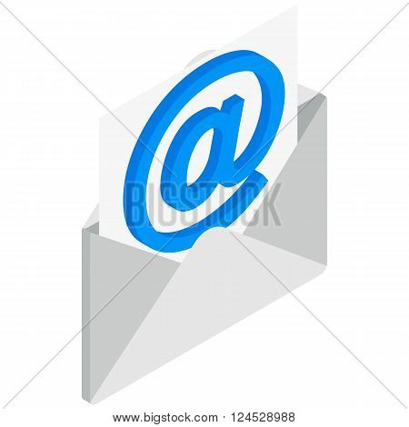 Email icon in isometric 3d style isolated on white background. Opened envelope with email sign icon