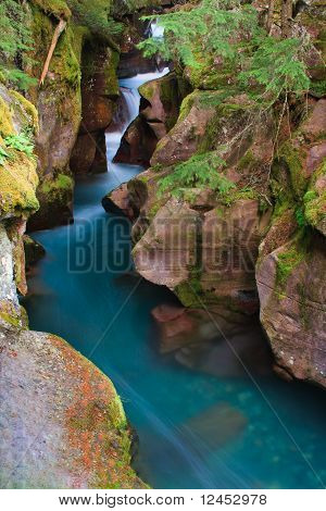 Glacial Blue Water Rushing Through Avalanche Gorge