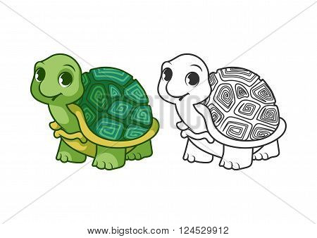 Cute little turtle. Cartoon vector character isolated on a white background with black outline.