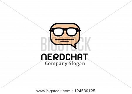 Nerd Chat Creative And Symbolic Logo Design Illustration