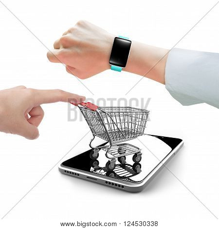 Hand Wearing Smartwatch With Forefinger Pushing Shopping Cart On Smartphone