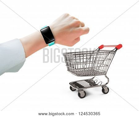 Hand Wearing Smart Watch With Small Shopping Cart