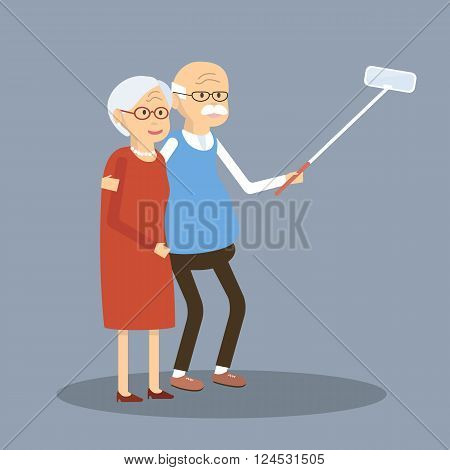 An elderly couple is doing selfie. Old people using modern technology. An elderly man and woman smiling and making selfie with smartphone. Vector illustration. Flat design characters.