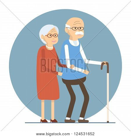 Illustration happy senior man woman family. Old people couple walking together. Flat characters happy retired elderly senior age couple. Social concept old people. Vector illustration old love couple