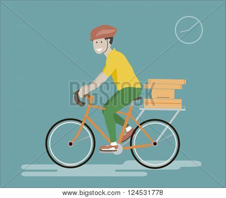 Vector illustration of bike courier. Courier man riding bicycle with delivery box. Courier bicycle delivery service. Courier concept. Courier delivery vector icon