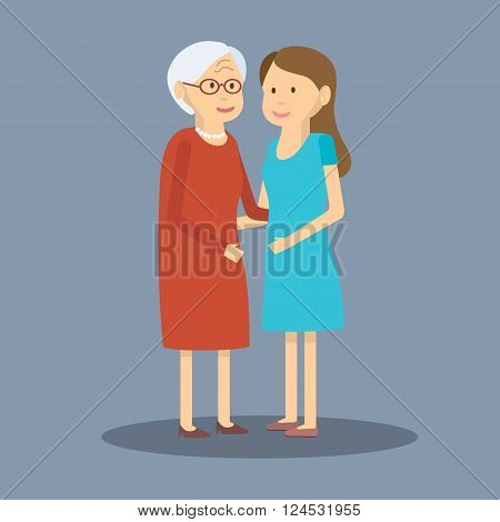 Vector illustration mother and daughter. Adult daughter and elderly mother are embracing. Flat design. Adult daughter and elderly mother. Two generations of women adult daughter and her elderly mother