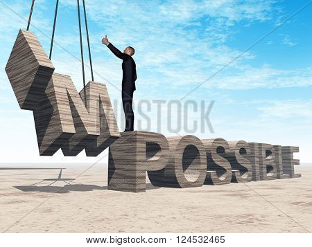 3D illustration of a concept conceptual 3D illustration of business man standing over abstract stone impossible text on sky background